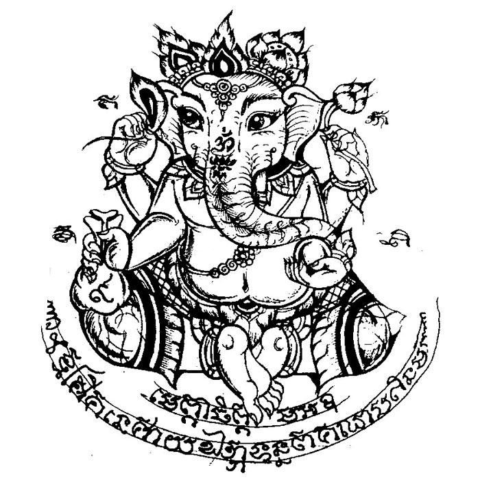 曼古王泰国佛牌介绍 - 象神纹身手稿(法力泰国刺符)